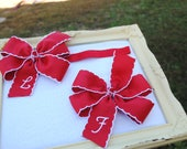 Big Sister Little Sister Bow Set - Personalized Sibling Set - Mommy and Me - Sisters Holiday Photo Set - Headband and Hair Bow Set for Girls