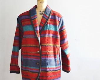 Vintage woolrich blanket jacket womens southwestern wool coat large