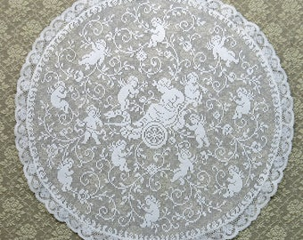 """Antique Lace Doily, 13""""...Lady in Chariot Pulled by Cherubs, Angels...Vintage Filet Lacis, Valenciennes Lace...Victorian Pictorial Lace"""
