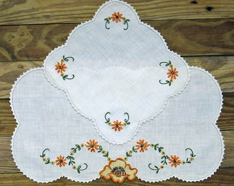Two Vintage Embroidered Linens, Doilies ... Table Scarf Set, Orange Flowers ...  Sewing, Craft Supply