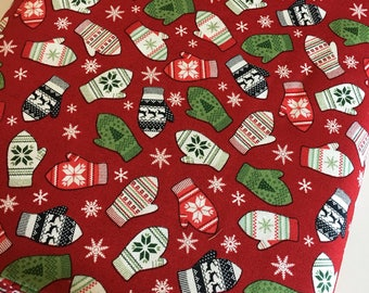 Christmas Fabric by the Yard, FabricShoppe, Comfort and Joy by Riley Blake, Christmas Quilt fabric, Knit Mittens, Mittens in Red