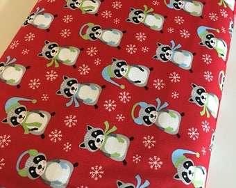Racoon fabric, Frosty Friends Christmas Fabric, Cotton fabric by the Yard, Racoons in Red- Choose the cut