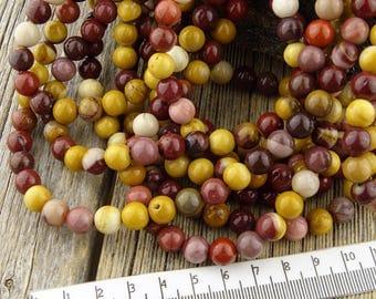 8mm Mookaite Beads, Mookaite Jasper beads,  Australian Jasper Round Beads, Earthy Red Yellow Pink Cream Rustic 8.5 mm