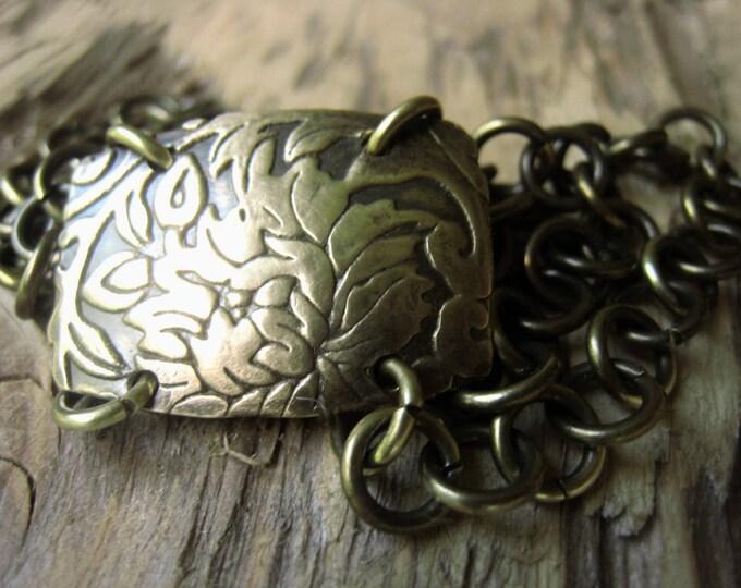 Featured listing image: Antique Gold Chain Bracelet Gold Flower Bracelet Item No. 0990