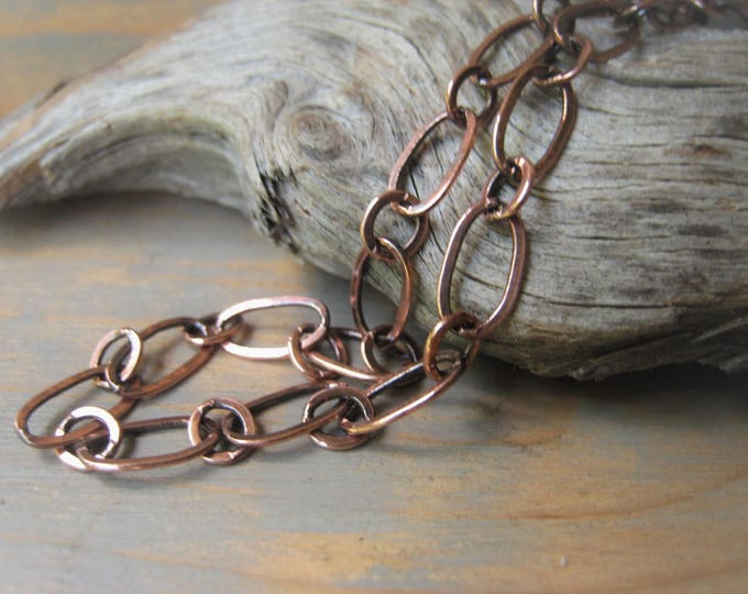 Featured listing image: Copper Long and Short Chain Necklace Oxidized Copper Bracelet 5x9mm Link Chain Item No. J6808