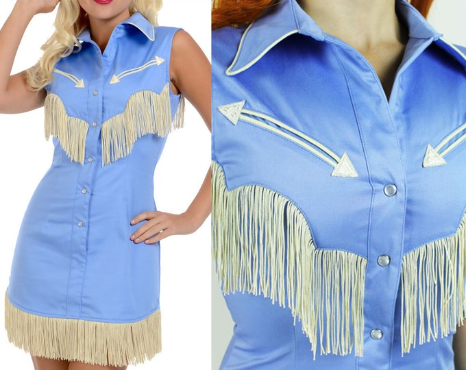 Riley Western Fringe Dress in Periwinkle Blue with Ivory Fringe