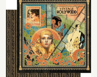 SPRING Graphic 45 Vintage Hollywood Scrapbook Paper