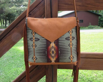 OOAK Wool Cross Body Bag Shoulder Purse Leather Strap Fringed 6 Pockets Vintage Wool from Pendleton Oregon