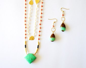 Green Gold Necklace Set / 14k Gold Filled Vermeil Gold Double Layering Necklace Earring Set Mint Green Brown Chrysophase Coral Gemstones