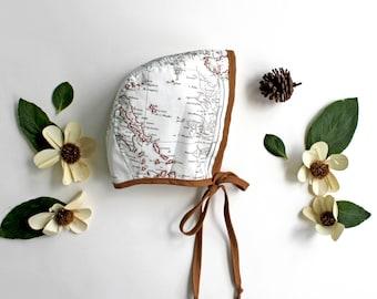 Baby Bonnet, Toddler Bonnet, Map Print Bonnet, Cotton Bonnet, Vintage Map Bonnet, Brimless Bonnet, Fall Bonnet, Baby Gift, Baby Shower Gift