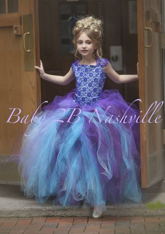 "SAMPLE SALE  Aqua Dress Plum Dress Purple Lace Dress Tulle Dress USED in photo Shoot Size 10 slim 24 inch waist 32"" length skirt"