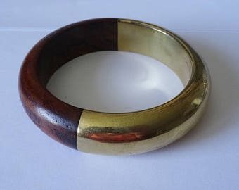 Brass and Wood Bangle Bracelet