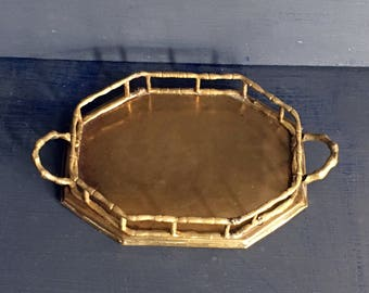 Small Brass Tray Bamboo Style Trim