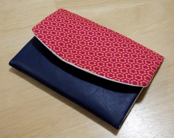 Pink flower Boon Wallet with blue vinyl detail, 9 card slots and coin purse, simple folding wallet