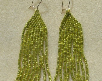 Metallic Gold Seed Bead Handstitched Earrings