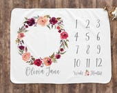 Baby Month Milestone Blanket- Watercolor Wreath - Girl - Personalized Baby Blanket - Track Growth and Age - New Mom Baby Shower Gift