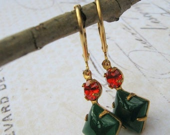 ON SALE Red Green Earrings, Retro, Estate Earrings, Emerald Jade and Ruby Glass Earrings, Vintage Green and Red Lever Back Earrings, Dangle