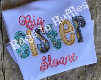 Big Sister Personalized Shirt - Monogrammed Big Sis Shirt- custom Big Sister Shirt