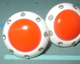 Vintage MOD Orange and White Lucite and Rhinestone Screw Back Earrings