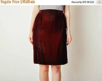 ON SALE Vintage Maroon Velvet Skirt