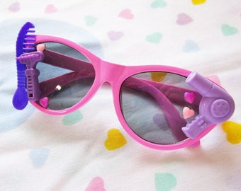 Kids sunglasses, pink cateye glasses fairy kei kawaii cabochon decoden barbie rockabilly gifts under 20