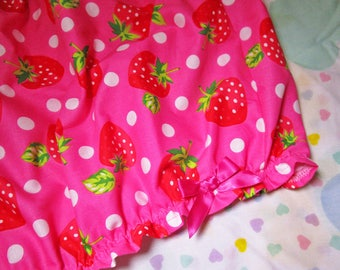 Lolita bloomers, pink strawberry fabric kawaii fairy kei clothing rave shorts size XL extra large