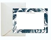 Indigo Marble Custom Stationery / Flat Notes -Set (10) / A7 Size