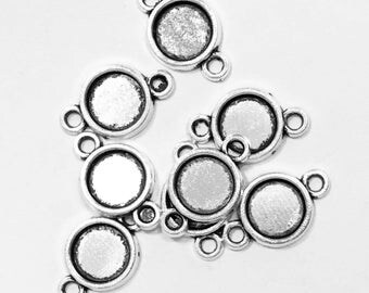 Bulk 100 pcs of antique silver connector setting 17x11mm setting for 8mm cabochon