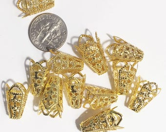 50 pcs of Gold  filigree bead cone 16x10mm, bulk filigree cone, gold bead cone