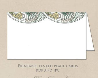 Printable Place Cards - Art Nouveau Floral Design - Gatsby Garden - DIY Seating Cards - Design only - PDF and JPG