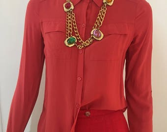 Candy Apple Red Blouse   90s   Minimalist