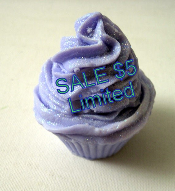 SALE Love Spell Cupcake Soap (Handmade Natural Glycerin Soap, Pretty Gift Soap, Long lasting, lots of lather)