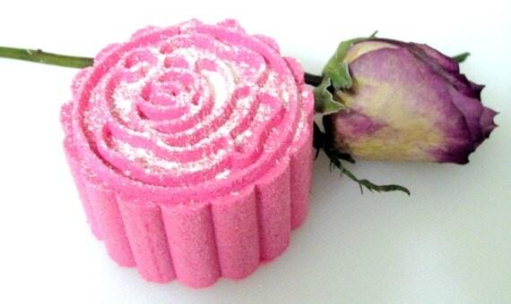 Deluxe Rose Bath Bomb Fizzy (Handmade, essential oil, moisturizing, floral, gift idea, pretty) wt. 92 g net Stardust Soaps