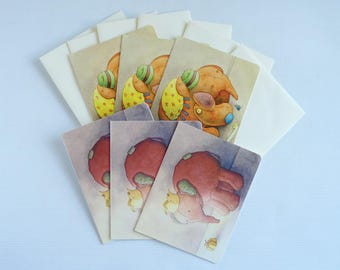 Elephant cards, six pack of 2x designs, 'Nelliephant' and 'Satsuma',  blank greetings cards with envelopes