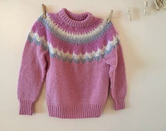 Pink Scandanavian Sweater Vintage 1980s 100%  Wool and Mohair sz M