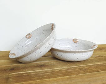 Glossy White Bowls with Stamped Sprigs, Rustic Speckled, Stoneware Pottery - Set of 2