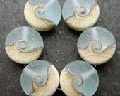 Lampwork Beads Sprees (6) Etched Pale Ocean Wave