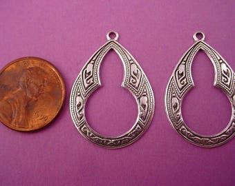 6 silver ox  Moorish Arabian Gypsy  style key hole  hoop  charms 27mm