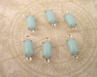 6 Vintage Calcedon light  Blue Glass Octagon Drops 8x4 silver setting 2 ring connectors