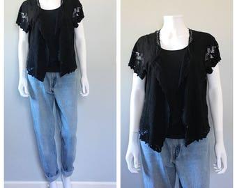Black lace jacket short sleeve lace button up hippy cutout lace top bohemian top