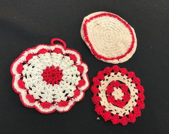 Set of 3 Vintage Hand Crochet Red and Off White Potholders