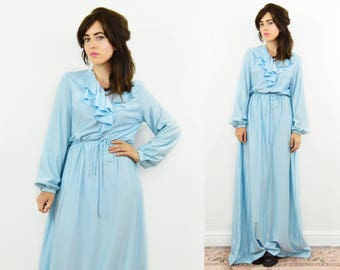 70s maxi dress, Baby blue dress, ruffle maxi dress, Boho maxi dress, pastel blue dress, 70s evening dress, 70s disco dress, wedding dress