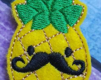 Mustache Pineapple Feltie, Pineapple Feltie, Felt Embellishments, Felt Applique, Hair Bow Supplies