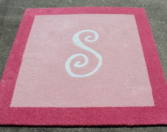 Custom Border Personalized Initial Inlay Rug - You Choose Size & Shape
