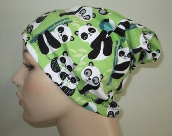 Panda Bears Slouch Chemo  Beanie  Hat Hat Play Sleep Cap, Cancer Hat, Alopecia Jogging