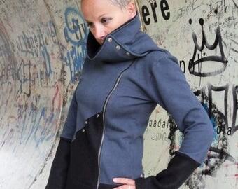 ON SALE sweatshirt zip up,women's clothing,cool sweatshirt,modern sweatshirt,handmade sweatshirt,zip up sweatshirt