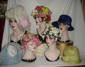 Reserved for Pat Vintage Hat Lot of 7 Beautiful Flowers Straw Floral Spring Garden Party