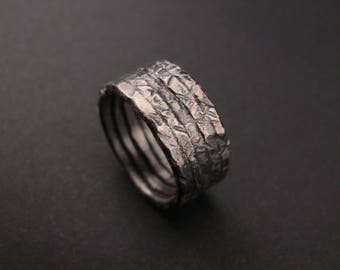 Rich Textured Reticulated Sterling silver band- Made to order in your size - Eco jewelry -  Recycled sterling silver - Unisex