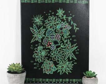 Original Succulents Wall Art - One of a Kind Botanical Art - Plant Lover Home Decor