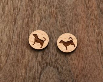8 pcs Dog Wood Charm, Carved, Engraved, Earring Supplies, Cabochons (WC 327)